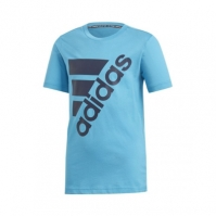 Tricou albastru bumbac adidas Must Haves Badge of Sport copii