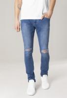 Blugi urban Slim Fit Knee Cut albastru-washed Urban Classics