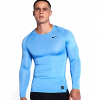 Bluza maneca lunga Nike Pro Cool compresie jersey albastru 703088 412 pentru barbati