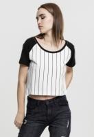 Bluza baseball Cropped pentru Femei alb-negru Urban Classics