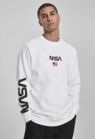 Bluza sport cu maneca lunga NASA alb Mister Tee