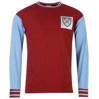 Tricou Score Draw Draw West Ham United 1966 Home cu Maneca Lunga pentru Barbati