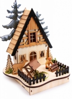 Decor Luminos Din Lemn Craciun Forest Hut 25 Cm