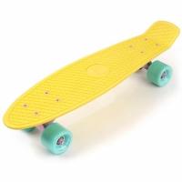 Placa skateboard METEOR plastic galben / bleu si roz 23769