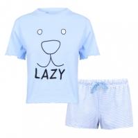 Pantaloni scurti Fabric Velvet Stripe Soft Pyjama Set with Lazy Slogan