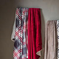 Gallery Check Throw Sherpa Red And Grey