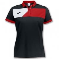 Tricouri polo Joma Crew II cu maneca scurta negru-rosu pentru Femei