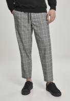 Pantaloni Cropped Comfort Glencheck alb-negru Urban Classics