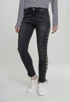 Pantaloni Denim cu siret Skinny pentru Femei negru-washed Urban Classics