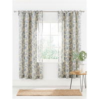 Gray and Willow Coast Printed Voile Curtain Pair 145x230