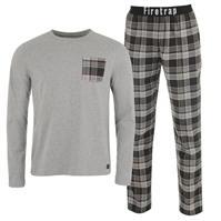 Firetrap cu Maneca Lunga Checked Pyjama Set pentru Barbati