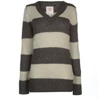 Lee Cooper Essential Stripe V Neck Knit Jumper pentru Femei