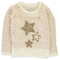 Rose and Wilde Serena Star Fluffy Sequin Cew Neck