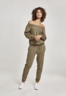 Salopeta Cold Shoulder Terry pentru Femei oliv Urban Classics