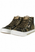 Sneaker High Top Canvas camuflaj-alb Urban Classics