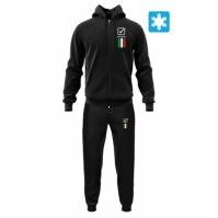 Trening sport TUTA ITALIA 101 con cappuccio UOMO IN FELPA Givova negru