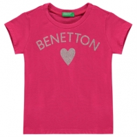 Tricouri Benetton Glitter Heart de fete