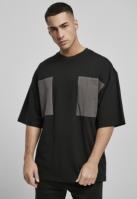 Tricou cu buzunar Big Double negru-gri Urban Classics