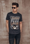 Tricou Johnny Cash Man In negru gri carbune Merchcode