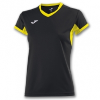Tricouri sport Joma T- Champion Iv negru-galben cu maneca scurta pentru Femei