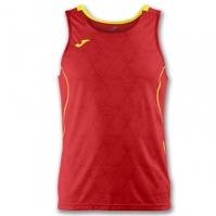 Tricou jogging Record Joma II rosu-galben fara maneci