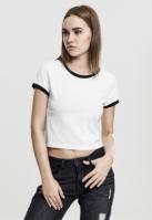 Tricou urban Ringer Cropped pentru Femei alb-negru Urban Classics