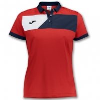 Tricouri polo Joma Crew II cu maneca scurta rosu-bleumarin pentru Femei