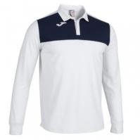 Tricouri Polo Joma Winner II alb-bleumarin inchis cu maneca lunga