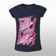 Tricou bumbac bleumarin cu imprimeu Puma Font Tee Girls Fetite