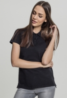 Tricou Wash Polo pentru Femei negru Urban Classics