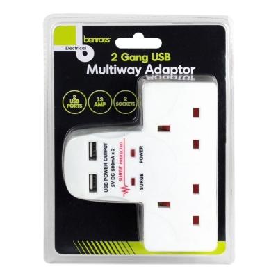 Benross 2 Gang USB Multiway Adaptor