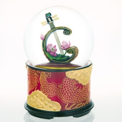 Glob muzical cu apa luta si floare de lotus
