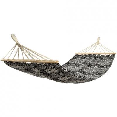 Garden hammock 1 person Etno 200x100cm black and white 1029627 Royokamp