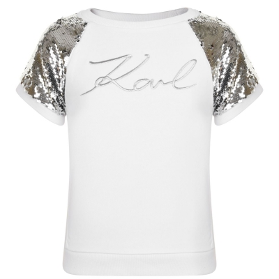 Tricouri maneca scurta Karl Lagerfeld Sequin de fete Copil
