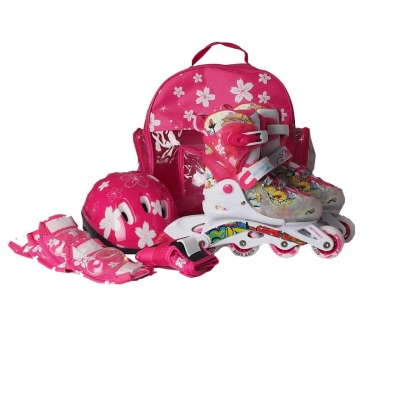 Rucsac Casca Set PW 116AF roller skates,,protection kit,, pink Kiddy Mechanics