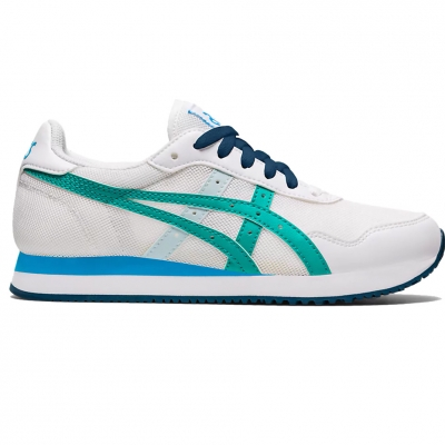 Pantofi sport for Asics Tiger Runner Gs white and blue 1204A015 100 Copil