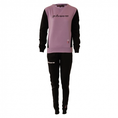 Trening sport TUTA DONNA 102 G/COLLO CON TASCHE IN FELPA Givova violet negru