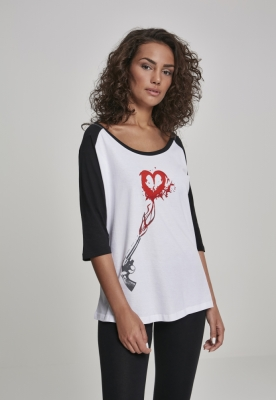 Tricouri Pistole Heart Raglan pentru Femei Mister Tee