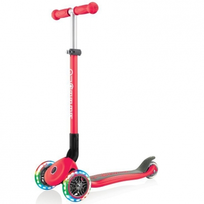 Scooter 3-wheel Smj Globber Primo Foldable Lights 432-102- 2 red