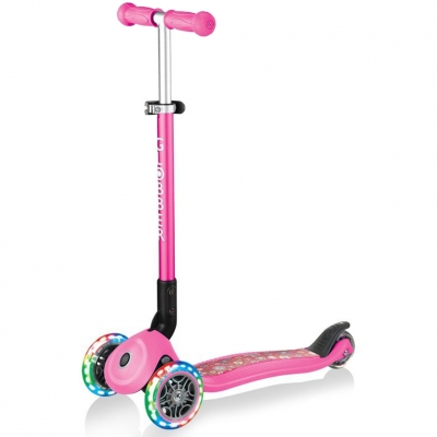 Scooter Smj Globber Primo Foldable Lights Flowers pink 434-110