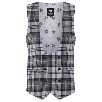 Twisted Tailor Kauf Check Waistcoat