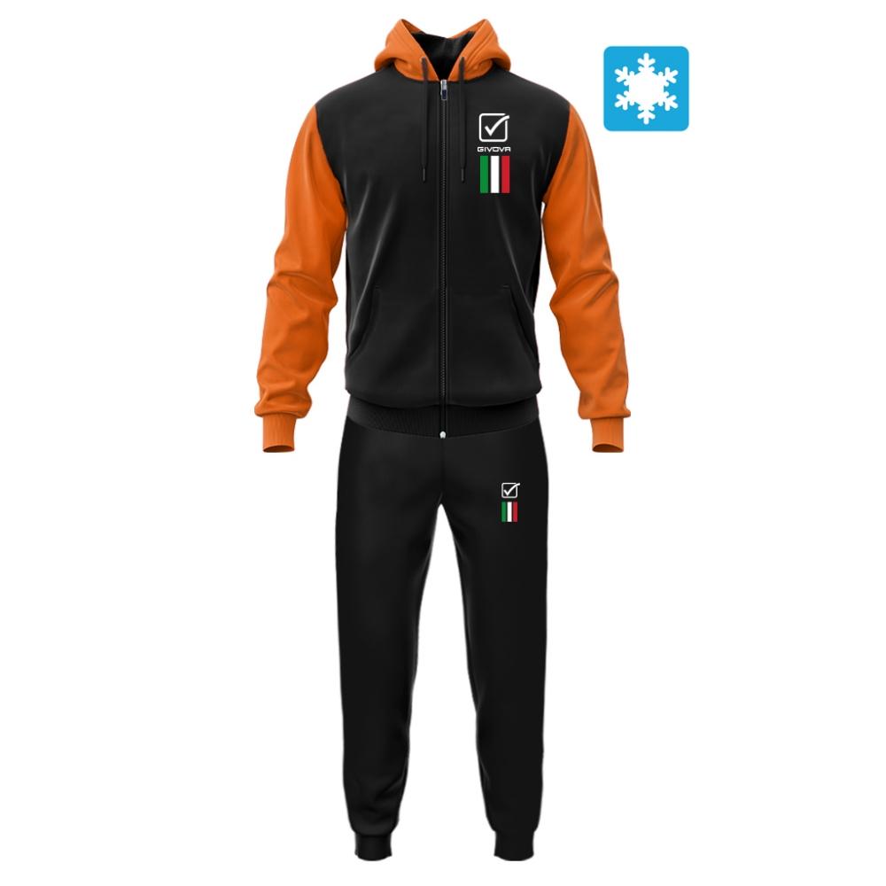 Trening sport TUTA ITALIA 101 con cappuccio UOMO IN FELPA Givova negru portocaliu