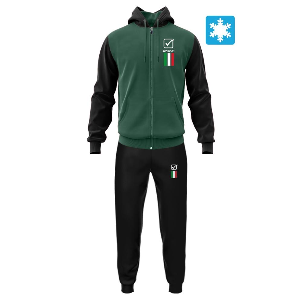 Trening sport TUTA ITALIA 101 con cappuccio UOMO IN FELPA Givova verde negru