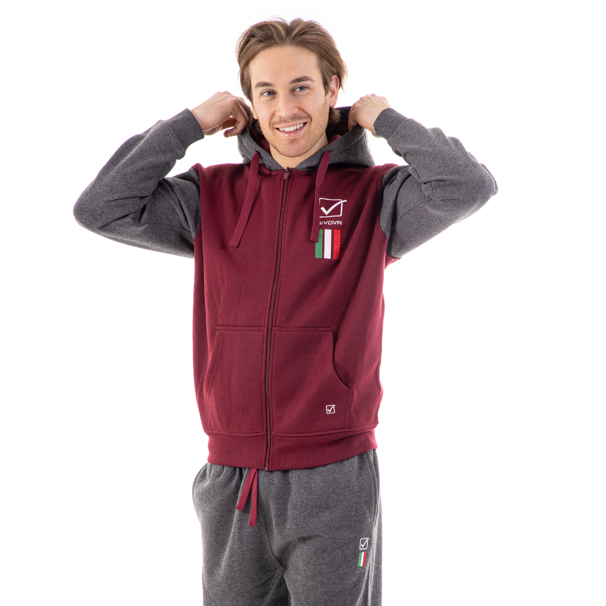 Trening sport TUTA ITALIA 101 con cappuccio UOMO IN FELPA Givova visiniu gri inchis