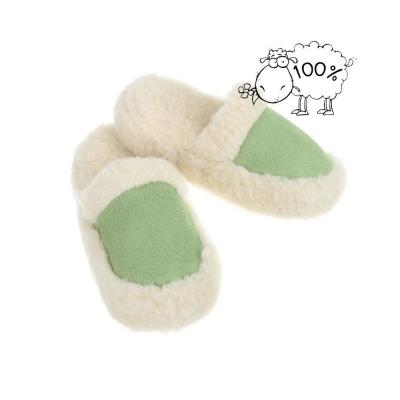 Papuci de casa imblanititi oaie naturala - verde dama